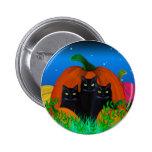 Black Halloween Cats with Pumpkins Button