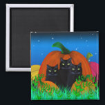 """Black Halloween Cats with Pumpkins Magnet<br><div class=""""desc"""">The black cats cuddled up in front of the pumpkin on Halloween night.</div>"""