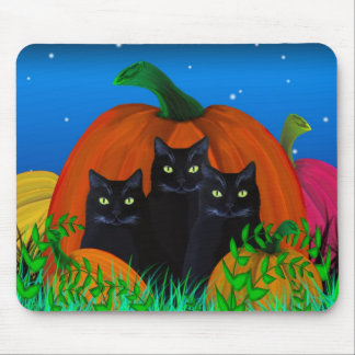 Black Halloween Cats with Pumpkins Mousepad