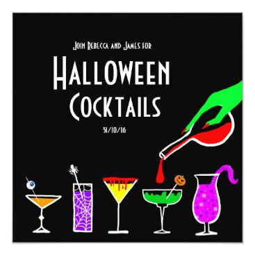 MelissaBaHalloween Black Halloween cocktails drinks party invitation