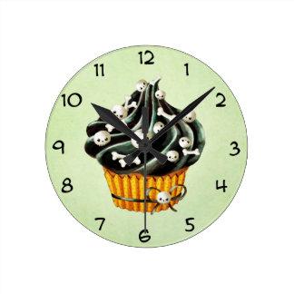 Black Halloween Cupcake Round Clocks