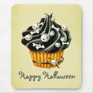 Black Halloween Cupcake Mouse Pad