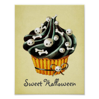 Black Halloween Cupcake Poster
