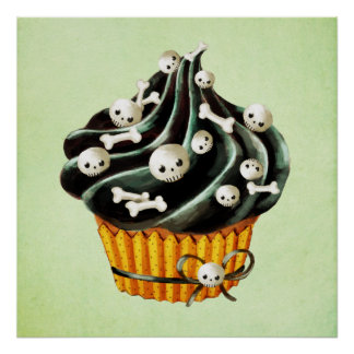 Black Halloween Cupcake Posters