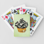 Black Halloween Cupcake with tiny skulls Bicycle Playing Cards