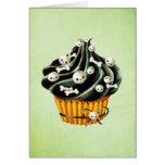 Black Halloween Cupcake with tiny skulls Card