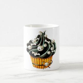 Black Halloween Cupcake with tiny skulls Coffee Mug