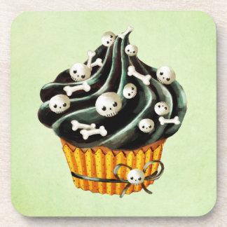 Black Halloween Cupcake with tiny skulls Drink Coaster