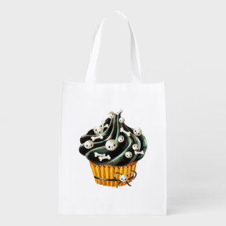 Black Halloween Cupcake with tiny skulls Grocery Bag