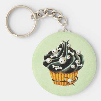 Black Halloween Cupcake with tiny skulls Keychain