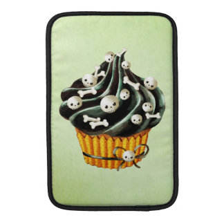 Black Halloween Cupcake with tiny skulls MacBook Sleeves