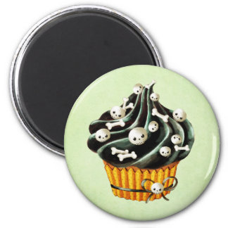 Black Halloween Cupcake with tiny skulls 2 Inch Round Magnet