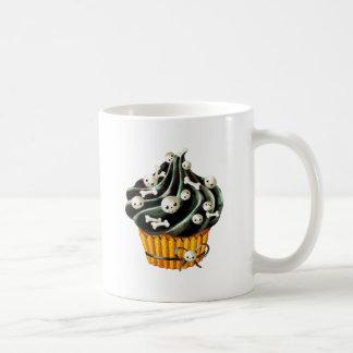 Black Halloween Cupcake with tiny skulls Classic White Coffee Mug