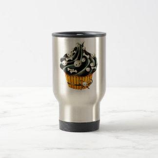 Black Halloween Cupcake with tiny skulls 15 Oz Stainless Steel Travel Mug