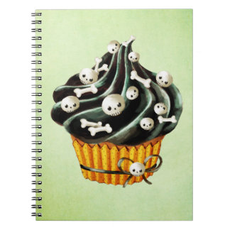 Black Halloween Cupcake with tiny skulls Spiral Note Books