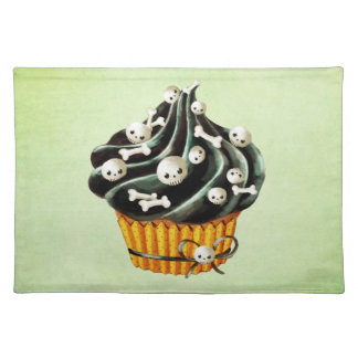 Black Halloween Cupcake with tiny skulls Placemat