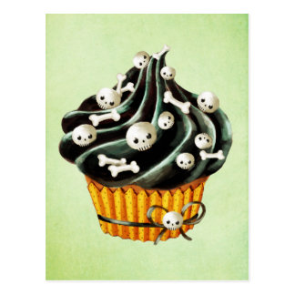 Black Halloween Cupcake with tiny skulls Postcard