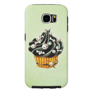 Black Halloween Cupcake with tiny skulls Samsung Galaxy S6 Case