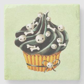 Black Halloween Cupcake with tiny skulls Stone Coaster