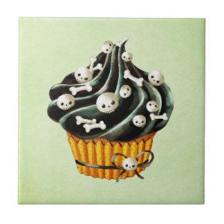 Black Halloween Cupcake with tiny skulls Tile