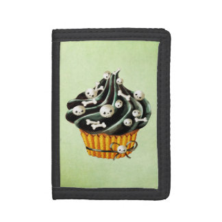 Black Halloween Cupcake with tiny skulls Trifold Wallet