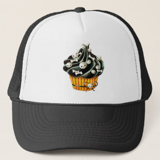 Black Halloween Cupcake with tiny skulls Trucker Hat