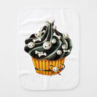 Black Halloween Cupcake Baby Burp Cloth