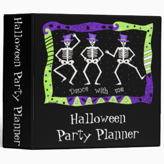 Black Halloween Dancing Skeletons Party Planner 3 Ring Binder