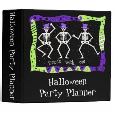 Halloween Themed Black Halloween Dancing Skeletons Party Planner 3 Ring Binder