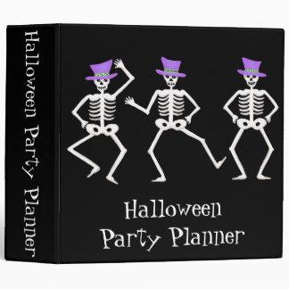 Black Halloween Dancing Skeletons Party Planner Vinyl Binders