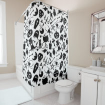 Black Halloween elements pattern Shower Curtain