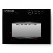 Black Halloween Invitation Skull Bloody Envelope