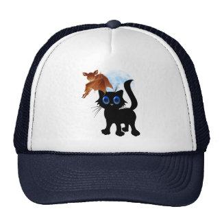 Black Halloween Kitty and Bat Hats
