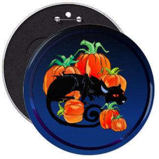 Black Halloween Kitty Button
