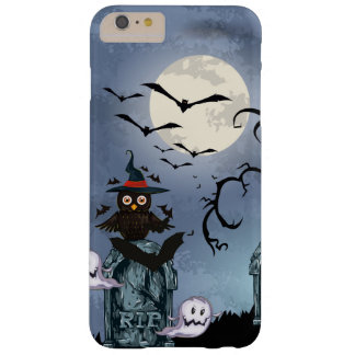 Black Halloween Owl Ghost & Flying Bats Barely There iPhone 6 Plus Case