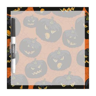 Black Halloween Pumpkins on Orange Dry Erase Whiteboards