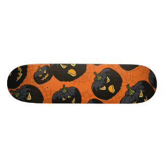 Black Halloween Pumpkins on Orange Skateboard