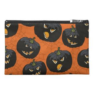 Black Halloween Pumpkins on Orange Travel Accessory Bag