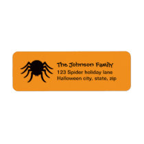 Black Halloween spider orange family return Return Address Label