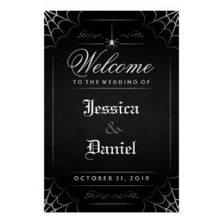 Black Halloween Spider & Web Welcome to Wedding Poster