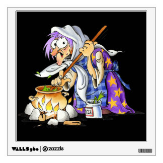 Black Halloween Wall Decals - Purple Witch