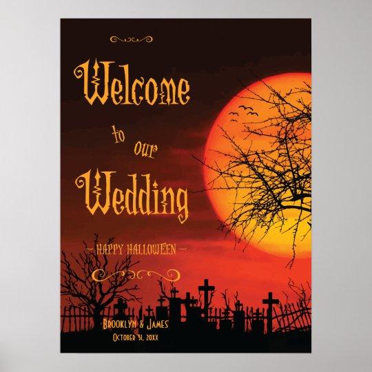 Black Halloween Wedding Reception Sign Print 18x24