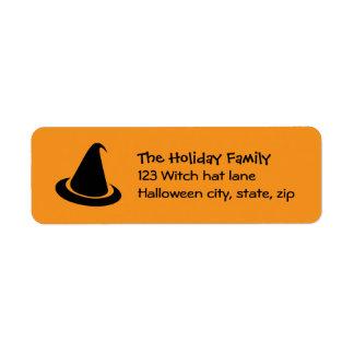 Black Halloween witch hat orange family return Label