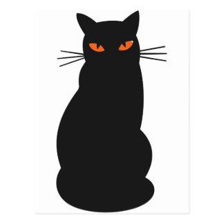Black Hallowen Cat Postcard