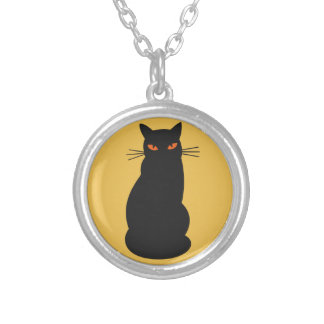 Black Hallowen Cat Silver Plated Necklace