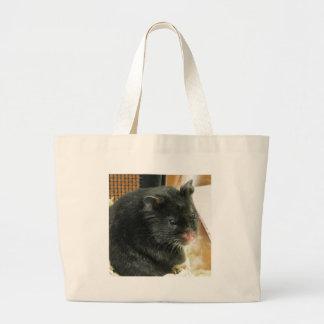 Black Hamster Large Tote Bag