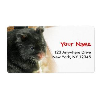 Black Hamster Photo Label