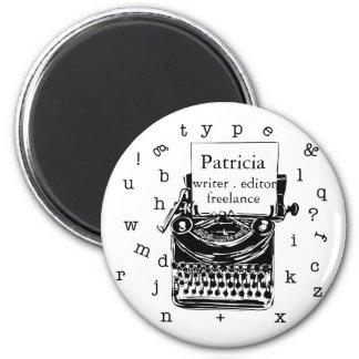 Black Hand Drawn Retro Typewriter | Editable  TEXT Magnet