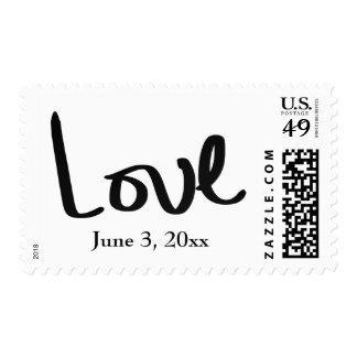 Black Hand Lettered Love w/ Wedding Date Postage