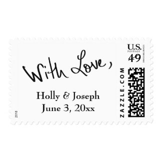"""Black Hand Lettered """"With Love"""" Plus Details Postage"""